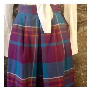Cute Vintage Plaid Wool Skirt, Made in Italy, S